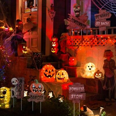 7PCS Spooky Waterproof Halloween Yard Stakes für Garten - Outdoor Halloween Dekoration
