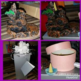 Incense backflow burner and 40 backflow cones also a mini insence cone holder gift boxed bn.
