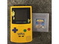 Limited Edition Pokemon Gameboy Colour Console Yellow & Metroid 2 Return Of Samus