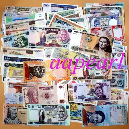 Wholesale lot 100pcs Different paper money World  Banknotes Rare Collections