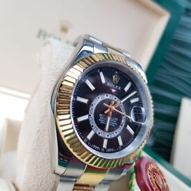 Complete Package bi strap black face ceramic bezel Rolex Sky dweller automatic sweeping