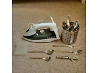 Cutlery set + iron for sale