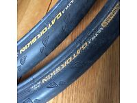 "Pair of bicycle tyres - Continental 'Ultra Gatorskins' - 26"" x 1 ¹⁄₈ - have had only slight use."