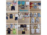 New born baby boy clothing bundle.