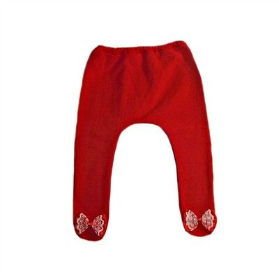 Baby Girls' Red Tights Red and White Lace Bow - 6 Preemie Newborn Toddler Sizes.