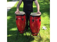 Stagg 10 an 11 inch congas, nice original drums on stands