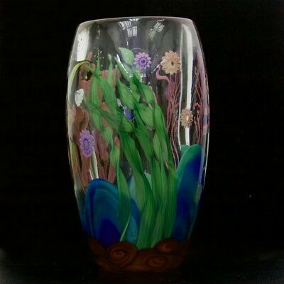 GLOW IN THE DARK Glass Paperweight Dark Green Coral Scene