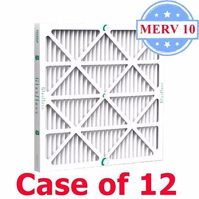 16x25x2 Air Filter MERV 10 Pleated by Glasfloss - Box of 12 - AC/Furnace Filters ()