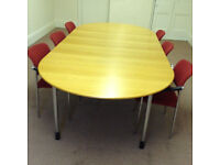 office Meeting Table Ikea Oak veneer with Six red matching Chairs