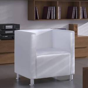 Modern White Faux Leather Tub Design Club Armchair Wh(SKU240069) Mount Kuring-gai Hornsby Area Preview