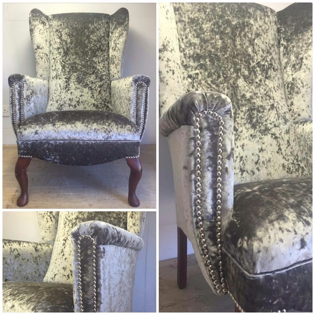 Bespoke Crushed Velvet Wingback Chair Newly Reupholstered