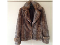 LADIES NEXT LUXURIOUS LINED BROWN FAUX FUR JACKET-SIZE 12
