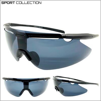 Hombre Deporte Envoltura Ciclismo Equitación Gafas de Sol Protector Negro Marco