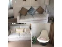 Leather Look White Sofa