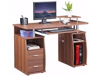 Computer Office Desk with Shelves and Drawers Dark walnut