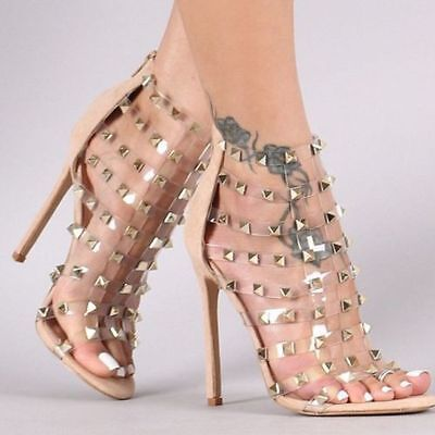 Liliana High Heel Sandals Open Toe Spike Caged Clear Vinyl Stilettos Shoes Caged High Heel