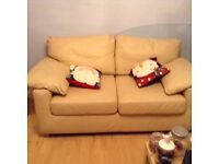 Italian leather rich buttercream deep cushioned sofa - open to offers!!!