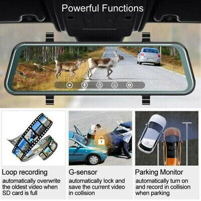 Pro 1080P HD Dual Lens Car DVR Rearview Mirror Dash Cam Recorder + Rear Camera