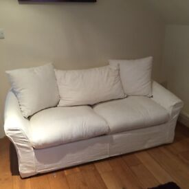 Cream Metal Action Sofa Bed