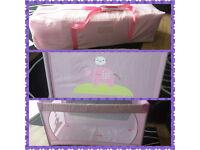 Pink Ladybird Travel Cot with soft mattress & matching umbrella