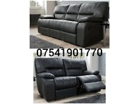 Real 100% leather 3+2 seater recliner sofas**Free delivery**