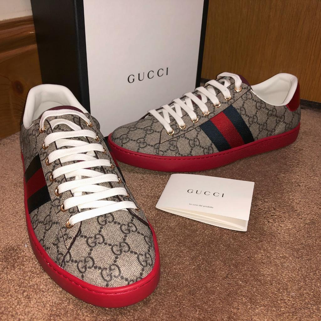 4330faa9202 Mens Gucci ace GG leather low top supreme sneaker trainers 100% authentic  size 8 beige   red