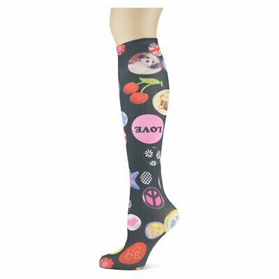 Love Buttons Soxtrot Thin Knee High Socks New Women Size 9-11 No Heel Fashion  ()