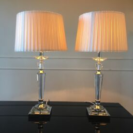 Twin glass table lamps