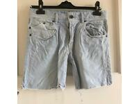 Bershka Light Denim Cut Off Shorts