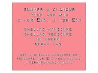 Dermaplaning, hd Brows, shellac, tanning. Beauty summer offers now on