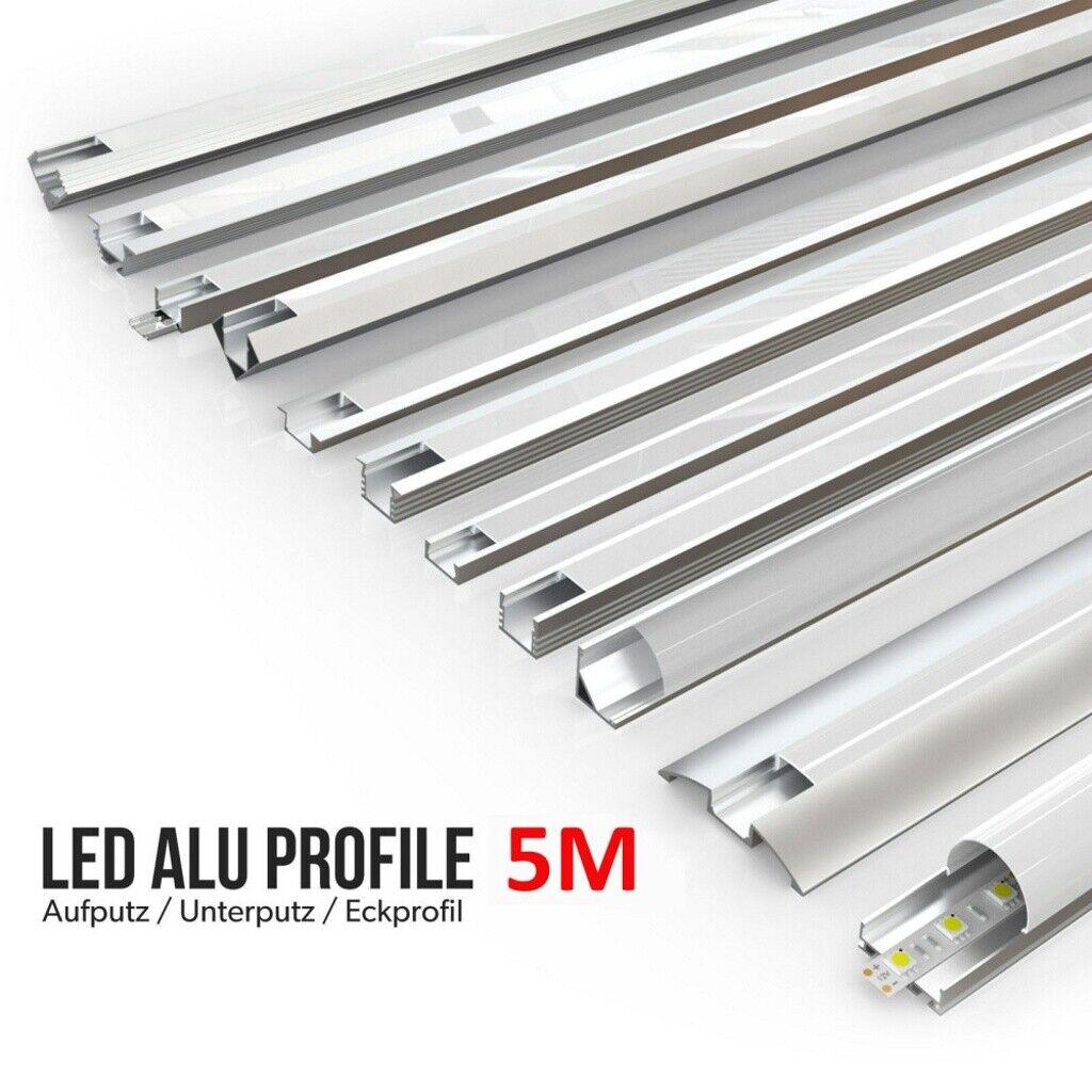5m LED Profil Aluprofil Alu Schiene Leiste Profile für LED-Streifen Eloxiert DE