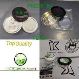3.5g Tuna tins Jars & labels