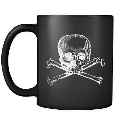 Skull Crossbones Halloween Hardcore Chopper Motorcycle Goth Coffee Mug 11 & 15oz