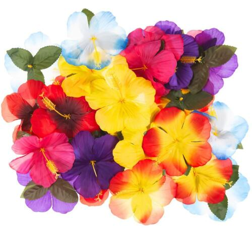 Home Decoration - 30 X ARTIFICIAL HIBISCUS FLOWERS COLOURFUL HAWAIIAN TABLE DECOR & CENTREPIECES