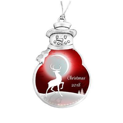 Snowman Ornament (Merry Christmas 2018 Snowman Ornament Silver Plated Metal Gift Keepsake)