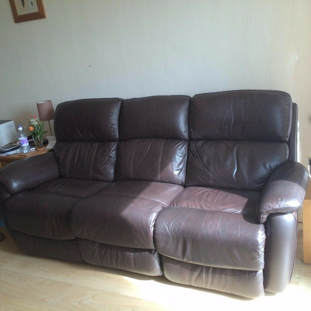 3 Seater Brown Leather Electric Recliner Sofa Dfs Navona 300 00