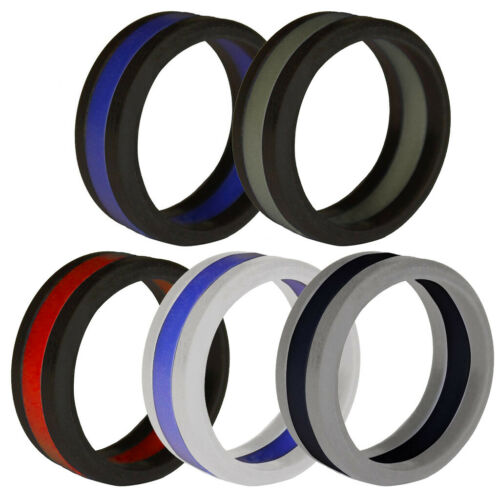 Silicone Wedding Ring for Men/Women, Stripe Rubber Band, Si