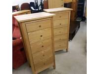 Solid wood tall chest of drawers x 2