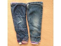 Girls 18 – 24 months, 2 pairs of slightly worn jeans