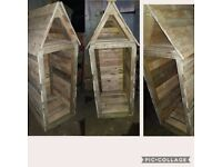 HANDMADE FROM RECYCLED WOOD LOG STORE GARDEN STORAGE