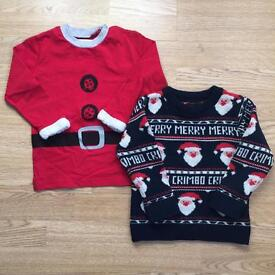 Two NEXT Christmas boys jumpers, age 1.5-2 years.