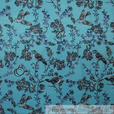 BonEful Fabric FQ Flannel Quilt VTG Blue Bird Small Tree Branch Leaf Rose Flower