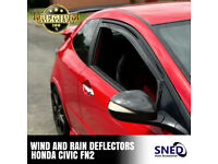 SNED Premium Quality Dark Smoked In Channel Wind Deflectors Honda Civic FN2 inc Type R All 3 Door