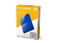 Western Digital 4TB My Passport Portable Hard Drive - Blue - Brand New - Sealed - £100
