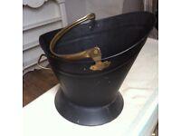 Vintage Metal Coal or Wood Bucket for Woodburner or Fireplace