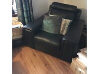 Large Leather Chair & Footstool.