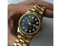 Rolex Date-Just Watch (Gold / Black Face) Automatic Sweeping.