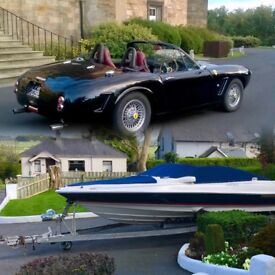 Ferrari 250 GT Kalifornia kit car replica + Regal 1900 lsr bowrider on single axle Regal trailer