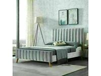 🔵💖🔴50% SALE PRICE🔵💖🔴PLUSH VELVET FABRIC LUCY DOUBLE BED FRAME WITH MATTRESS OPTION