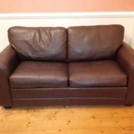 Brown faux leather 2-3 seater couch/sofa-bed with 2 matching beanbag cube footstools - VGC!